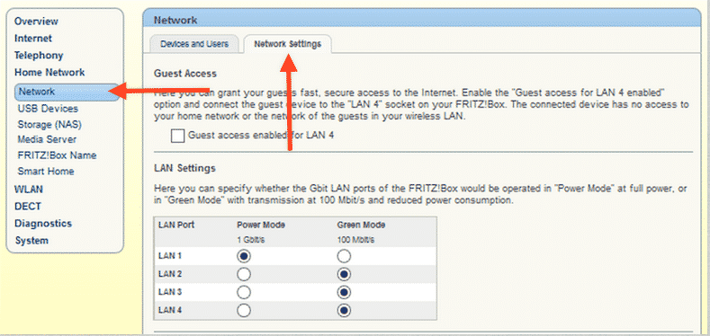 Fritzbox Network Settings
