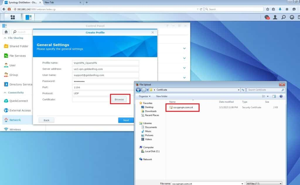 VyprVPN OpenVPN Setup for Synology NAS: select the certificate
