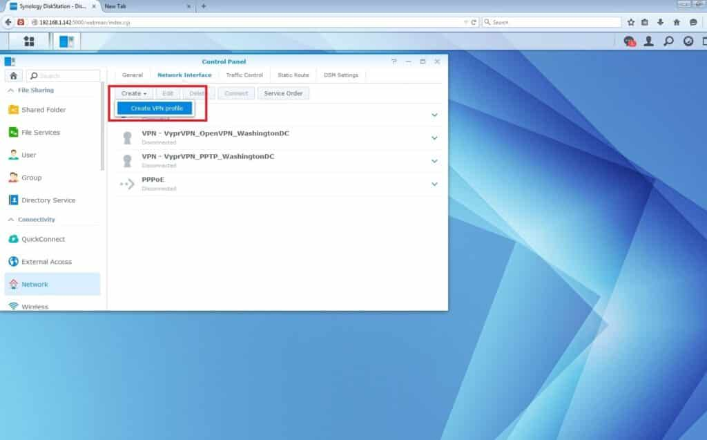 VyprVPN PPTP VPN Setup for Synology NAS: create VPN profile
