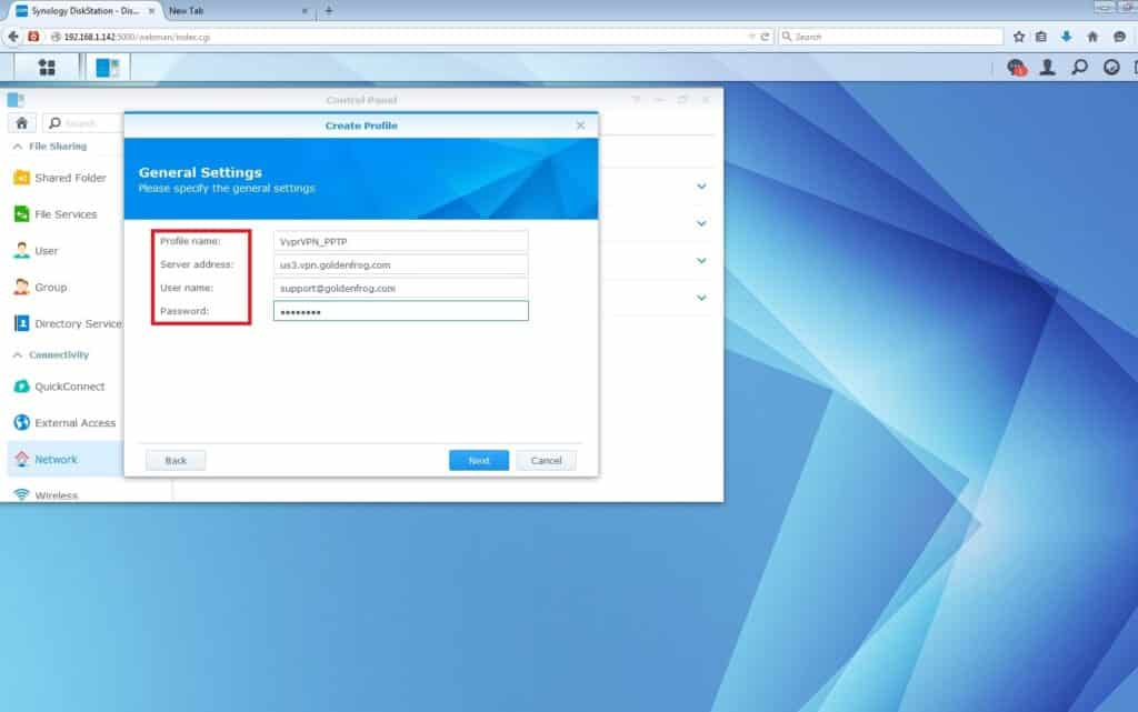 VyprVPN PPTP VPN Setup for Synology NAS: enter the information