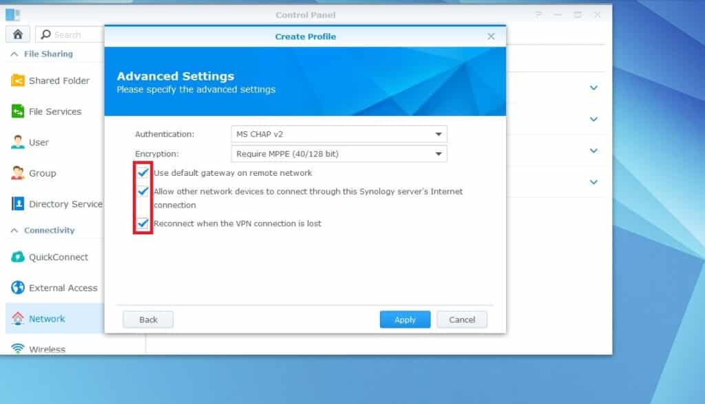 VyprVPN PPTP VPN Setup for Synology NAS: check the options